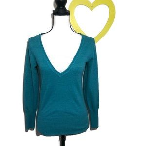 !! Green Deep V-Neck Sweater Large